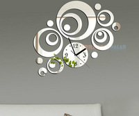 FREE SHIPPING Child real crystal three-dimensional mirror wall stickers novelty fashion clock fairy NEW WATCH Z030