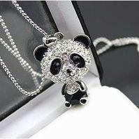 gifts NEW!Fashion Korea cute panda necklace Wholesale !Free shipping! black Eye rhinestone necklacce Statement  jewelry PT33