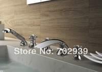 Free shipping chrome  finish  bathtub faucet  WITH SHOWER HEAD