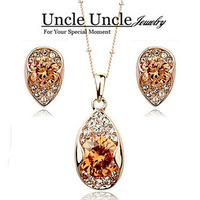 18K Real Gold Plated Champagne Austrian Zircon Rhinestone Studded Princess Lady Jewelry Set Earrings/Necklace