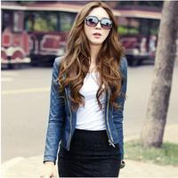 Korean Short Slim Small leather Spring Autumn PU Motorcycle leather Coat , Women O-Neck Jacket