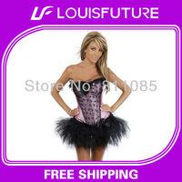 Black & Pink Spandex / Polyster Sexy Lingerie Corset Fantasy Women CS0159