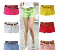 New Bright Colors Fahion Sexy Low Waist  Women Cotton Shorts, 5 Size , 9 candy colors