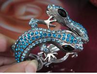 High Quality Alloy Charm Bracelet Bangle Antique Silver Plated Purple Crystal Lizard Bracelets AM055
