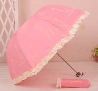 3 Folded Five Colors Manual Archy Cartoon Lace Folding Sun Rain Umbrella With Giraffe Image Free Shipping