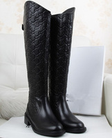 free shipping ON SALE DISCOUNT fashion embossed genuine leather brand design knee high motorcycle women winter boots SHOES