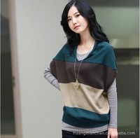 2013 autumn and winter maternity pregnant clothing dress casual plus big size sweater elegant wide stripes short sleeve