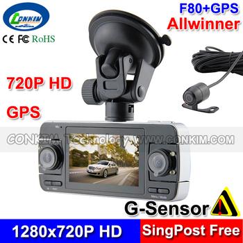 "Carcam F80 Rear View Lens Car DVR 3 Cameras Black Box HD720P+2.7"" LCD+GPS+G-sensor+HDMI+AVout Car Dashboard Vehicle Recorder"