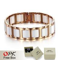 OPK JEWELRY Top Quality Stainless Steel White or Black Ceramic  Bracelet Men's Jewelry  Latest Style 448