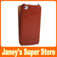 Luxurious Flip Leather case for Apple iPhone 4G 4S, fashion Genuine leather case,10 pcs/lot,free shipping +Screen Protector