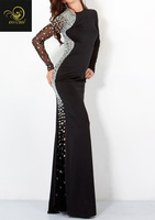100% Beading Handwork Backless Long Sleeve Black Evening Dresses OL102100