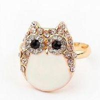 Free shipping  Fashion personality  cute rhinestone black gem Eye white owl rings jewelry  wholesale  for women  2014 PT32
