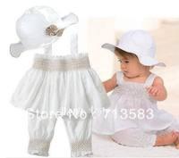 New baby set 3 pcs suit girl's suspenders shirt +trousers+hat clothes whole suits ,4pcs/lot,