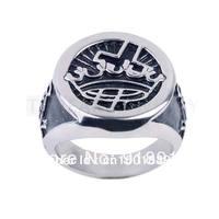 Free Shipping! Crown & Cross Knight Templar Stainless Steel Masonic Ring MER05-12