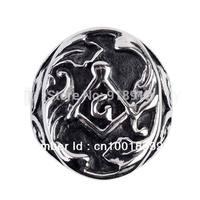 Free shipping! Carved Black Enamel Master Masonic Emblem Steel Ring MER05-16