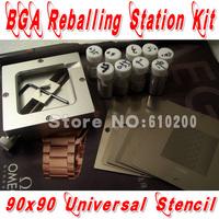 Free shipping 2013 Newest BGA reballing Kit 19/pcs 90*90  BGA Universal Stencil +BGA Reballing Station+BGA solder balls