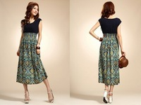 fashion 2013 spring summer Vest beach dress sleeveless dress  retro dress clothing wholesale  free shipping