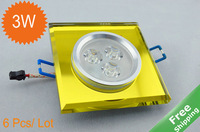 3W LED Crystal Ceiling lamp+ 3x 1W+ 4 Shell colors+ White/Warm white  +110V-240V + 6pcs/Lot +Free hipping