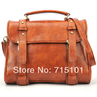 2014 New Fashion Vintage Style Lady Briefcase Messager Bags For Women Shoulder Bags Handbags With Brown & Wine Red Color
