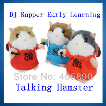 10pcs/lot Free EMS DJ Rapper  Early Learning Wear Clothes Hamster Talking Toy for Kids Repeat Talking Hamster Toy