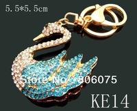 wholesale hot animals crystal rhinestone alloy key chains key rings keychain Free shipping 12pcs/lot Mixed colors KE14