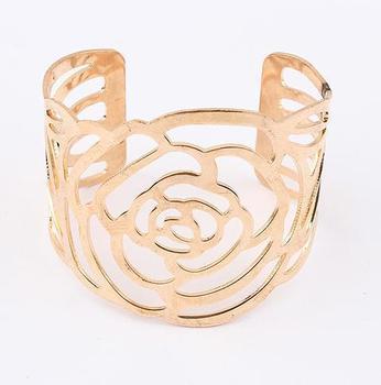 Min. order is $10(mix) 951 hollow rose flower cuff bracelet fashion women bracelet wholesale 2013