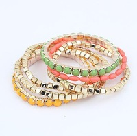 Min.order $10(mix) fashion layer metal stretch multi color bracelet jewelry wholesale bubble bracelets for women