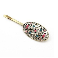 Wholesale Korean Style Vintage Hollow-out Colour Rhinestone Hair Clips Free Shipping