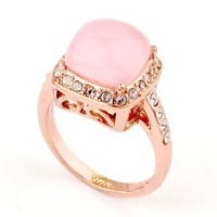 Fashion Pink Opal Stone High Quality Vintage 18K Gold Plated Mid Finger Rings for Women Full Size Free Shipping 03-Jewelry Bund