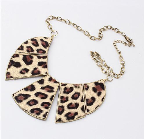 statement leopard fan choker necklace fashion necklace wholesale jewelry 2014(China (Mainland))
