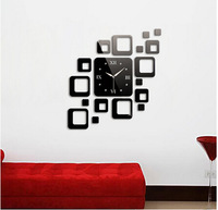 Min order 15 usd ( Mix items )Good Gift 3D Arrival Combination Of Square Wall Stickers DIY Mirror Wall Clock
