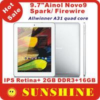 "Original Ainol NOVO9 Spark Quad core tablet pc 9.7"" IPS Retina Screen 2048x1536 pixels Allwinner A31 2GB RAM 16GB"