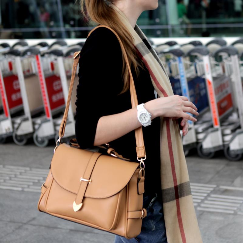 HOT!!!2014 women leather handbags vintage messenger bag shoulder cross-body women's handbag candy color bag women's bags(China (Mainland))