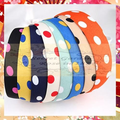 Hairpins Hair Accessories Romantic Girls sweet headband RS0149 5Pcs/lot Japan Fashion Korea style candy Polka dots hairband(China (Mainland))