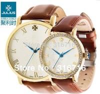 Quartz Watch Luxury Brand JULIUS Fashion Women and Men Lovers Watches,Waterproof Round Leather bracelet Women Watches JA-585