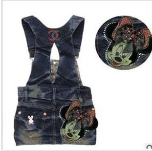free shipping 5pcs/lot baby girls suspender dress fashion minnie strap denim overall dress children denim dresses