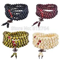 Wholesale 108*8mm Wooden Worry Beads Buddha Bracelet Malas Buddhist Rosary Beads Prayer Japa Mala Viagem Jewelry Making Supplies