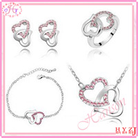 Fashion jewelry set Sweetheart's gift Forever love Heart to heart necklace bracelet ring and earrings set free shipping JS44