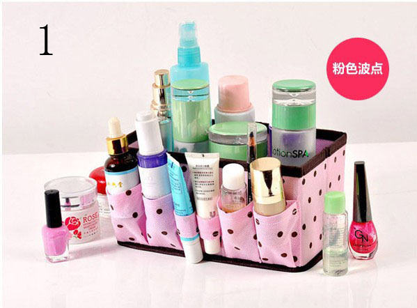 free shipping Pink polka dot desktop cosmetics storage box organizer clutter basket in stock(China (Mainland))