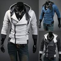 2014 New Brand Spring Hooded Jackets Irregular Zipper Men Jackets Tops Sport Casual Men Clothing