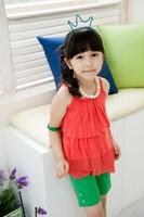 2014new baby girls clothing set ( chiffon top+ leggings) ,baby&kids summer clothing ,vest  blouse cool girls children suits set