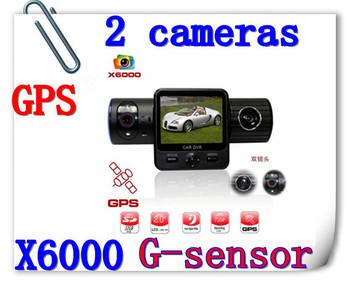 Free Shipping Full HD Car DVR X6000 With Dual Lens / G-Sensor / GPS / IR Light+Retail Box(X6000)