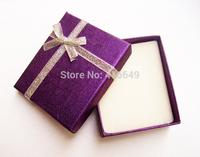 24pcs/lot 7x8x2cm Fashion Jewelry Box, Dear Purple Paper Rings Box,Earrings/Pendant Box Jewelry Display Packaging Gift Box
