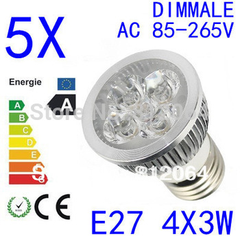 5PCS  High power CREE GU10 E27  E14 4x3W 12W 85-265V Dimmable Light lamp Bulb LED Downlight Led Bulb Warm/Pure/Cool White