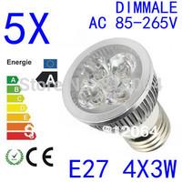 5PCS  High power CREE GU10 E27  E14 4x3W 12W 85-265V Dimmable Light lamp Bulb LED Downlight Led Bulb Warm/Pure/Cool White
