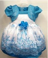 baby girls dress shortsleeve  waist bowknot  flower  dresses blue