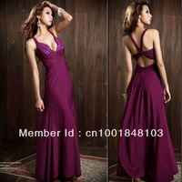 2013 Sexy Queen Noble Womens V-neck Stylish Backless Beading Full-length Evening Dress 3 Colors White Black purple