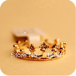 C007 Free Shipping! (Min Order $12,can mix) Women Fashion Jewlery Gold Silver plated Crystal Crown Little Finger Ring Tail Ring(China (Mainland))