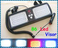 Hight Quality Flash Patterns Super Bright 86 LED Car Truck Visor Strobe Flash Light Panel, Warning Lighting  Free shipping