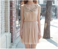summer dress 2014 summer women new sweet fashion flower collar slim waist pleated chiffon vest dress winter free shipping